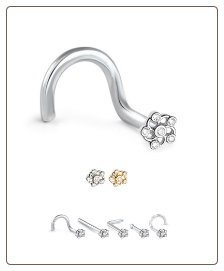 316L Surgical Steel Nose Stud Flower 20G