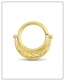 14KT Yellow Gold Septum Clicker Helix Ear Cartilage Nose Ring 16G