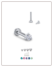 14KT White Gold 316L Surgical Steel Labret Style Nose Monroe Stud Screw Post Round CZ