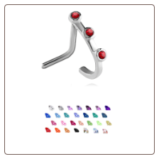 316L Surgical Steel Nose Stud Nose Hugger- Choose Your Style Triple CZ 20G