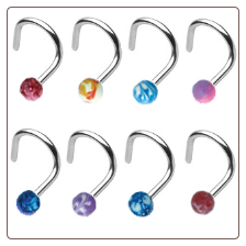 **BLOW OUT SALE** 316L Surgical Steel Nose Screw 3mm Ball -Choose Your Color 18G