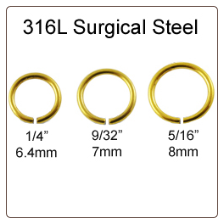 Anodized Gold Surgical Steel Nose Ring- Choose Size 18G