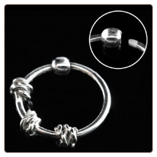 925 Sterling Silver Nose Ring Hoop 5/16 3 Wire Design 22G