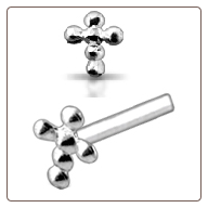 925 Sterling Silver Nose Stud Straight or L Bend 4.5mm Cross 22G