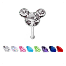 925 Sterling Silver Nose Bone 4.3mm Mickey Mouse 22G