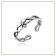 925 Sterling Silver Flower Twisted Toe Ring