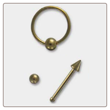 **BLOW OUT SALE** 316L Surgical Steel Gold Nose Ring Hoop Nose Bone Ball Spike 3 Pack 20G