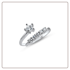 925 Sterling Silver Star Diamond Toe Ring