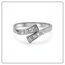 10KT Solid White CZ Gold Toe Ring