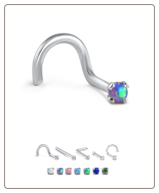18KT White Gold 2mm Synthetic Opal Choose Your Style and Color 20G