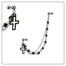 *BLOW OUT SALE* 316L Surgical Steel Ear Cartilage Jewelry Black Cross Chain 16G