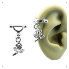 **BLOW OUT SALE** 316L Surgical Steel Ear Cartilage Helix Shield Jewelry Flower Dangle 16G