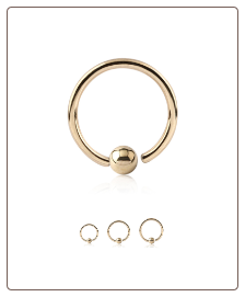 14KT Yellow Gold Fixed Captive Bead Nose Hoop