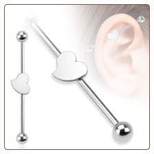 "Ear Cartilage Industrial Scaffold Barbell Heart Design 1 1/2"" 14G"