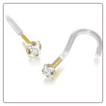 14KT Gold BioFlex Nose Screw 2mm Square CZ 18G