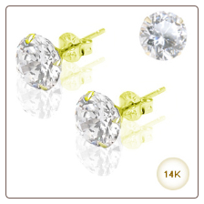14KT Yellow Gold Earrings Round 3mm CZ