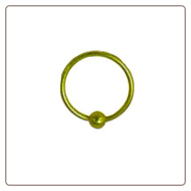 Nose Ring Hoop Captive Bead Style Gold Plated 5/16 22G
