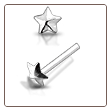 925 Sterling Silver Nose Stud Straight or L Bend Silver Star 3mm