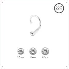 925 Sterling Silver Nose Screw Clear CZ Round 22G