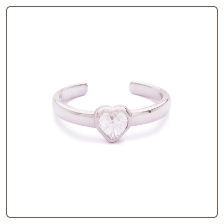 **BLOW OUT SALE** 925 Sterling Silver Single Heart CZ Toe Ring