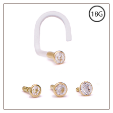 14KT Yellow Gold Bioflex Nose Screw -Choose Your Size Bezel Set CZ 18G