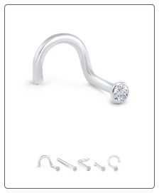 18K Solid White Gold Nose Stud 1.5mm Bezel -Choose Your Style