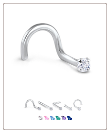 White Gold Nose Jewelry 1.5mm Round CZ -Choose Your Style