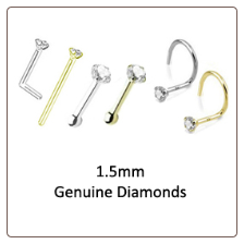 1.5mm Genuine Diamond Nose Ring