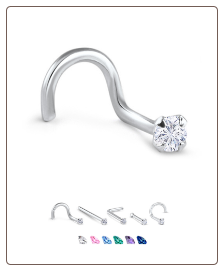 White Gold Nose Jewelry 2.5mm Round CZ -Choose Your Style