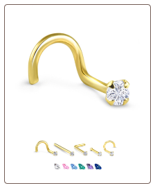 Yellow Gold Nose Jewelry 2.5mm Round CZ -Choose Your Style