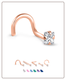 14K Rose Gold Nose Jewelry 2.5mm Square CZ -Choose Your Style