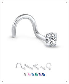 White Gold Nose Jewelry 3mm Square CZ -Choose Your Style