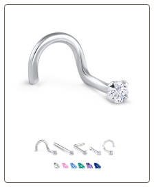 White Gold Nose Jewelry 2mm Round CZ -Choose Your Style