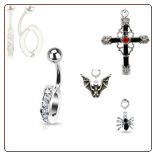 "**BLOW OUT SALE**  316L Surgical Steel Navel Belly Button Ring Body Charm Holder Clear 3/8"" Bat Spider Cross Charm 14G"
