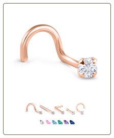 14K Rose Gold Nose Jewelry 3mm Round CZ -Choose Your Style