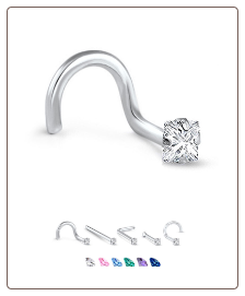 White Gold Nose Jewelry 2.5mm Square CZ -Choose Your Style