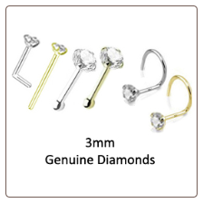 3mm Genuine Diamond Nose Ring