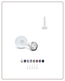 Bioflex Labret Style Push Pin Nose Stud or Nose Screw 2mm Bezel Set Stone 18G 16G
