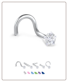 14K White Gold Nose Jewelry Star CZ -Choose Your Style
