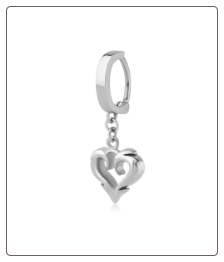 316L Surgical Steel Navel Belly Button Clicker Ring Dangle Heart 14G