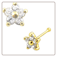 14KT Gold Nose Bone 4.5mm Genuine Diamond Flower 20G