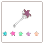 **BLOW OUT SALE** 925 Sterling Silver Nose Bone 2.5mm Glow In The Dark Star 22G