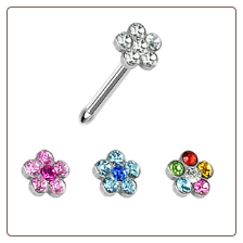 316L Surgical Steel Nose Bone 3.5mm Choose Your Color Flower Cluster 20G