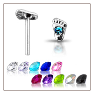 **BLOW OUT SALE** 925 Sterling Silver Nose Stud Straight or L Bend -Choose Your Color Foot