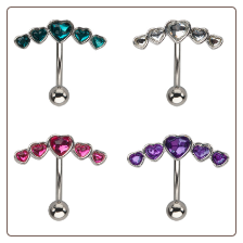 **BLOW OUT SALE** 316L Surgical Steel Navel Belly Button Ring 5 Heart CZ 14G