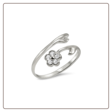 925 Sterling Silver Flower Toe Ring