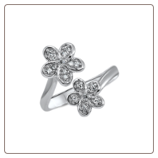 925 Sterling Silver CZ Flowers Toe Ring