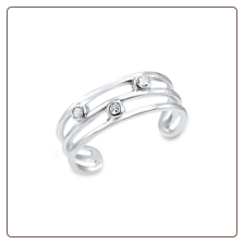 925 Sterling Silver 3 CZ Toe Ring