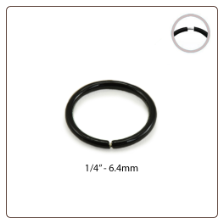 "Nose Hoop Black Plated Continuous Sterling Silver 1/4"" 6.4mm 18G"