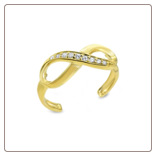 14KT Solid Yellow Gold Infinity CZ Toe Ring